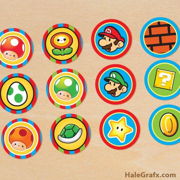 Free Printable Super Mario Bros Cupcake Toppers Super Mario