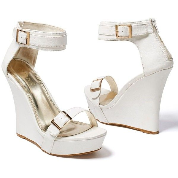 Venus Women's Buckle Detail Wedge ($23) ❤ liked on Polyvore featuring shoes, sandals, white, white shoes, platform shoes, white platform shoes, high heel shoes and white platform sandals