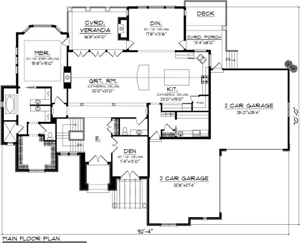 Houseplans.com Mediterranean Main Floor Plan Plan #70-1093 | floor ...