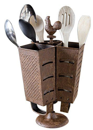 Rustic Rooster Grater Utensil Holder Farmhouse Style Red Co Https Www Amazon Com Dp B01evr0ip4 Ref Cm Sw R Pi Rustic Cooking Utensils Utensil Holder Utensil