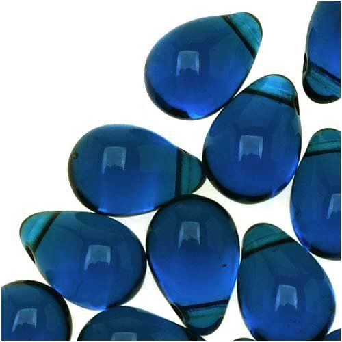 50 BLUE TRANSPARENT CZECH GLASS TEARDROP BEADS 8MM