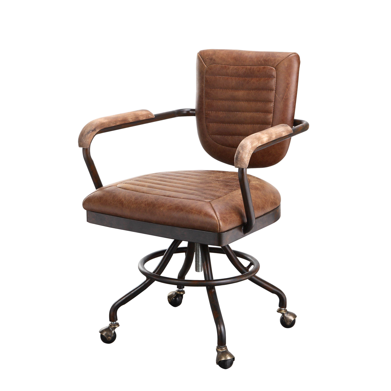 Aurelle Home Rustic Vintage Soft Brown Leather Desk Chair