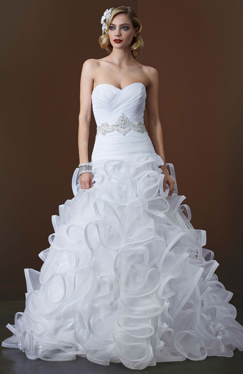 Galina signature ball gown with embellished waist and ruffled skirt