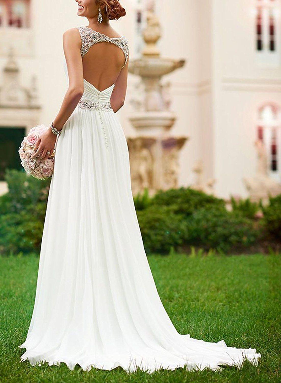LYDIAGS Damen A-Linie Brautkleid Gr. UK 12, Weiß - Weiß | Hochzeit ...