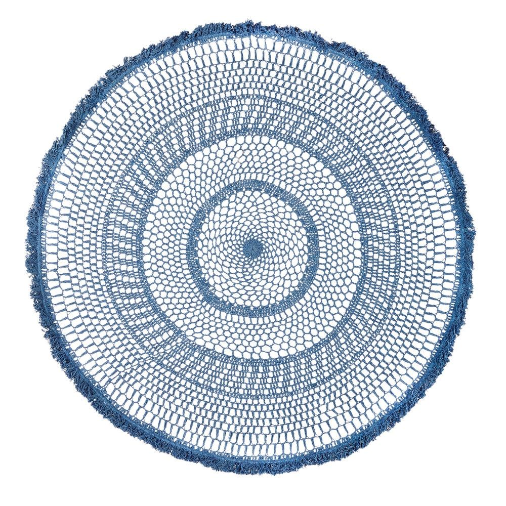 Round blue woven cotton wall art d cm maisons du monde home