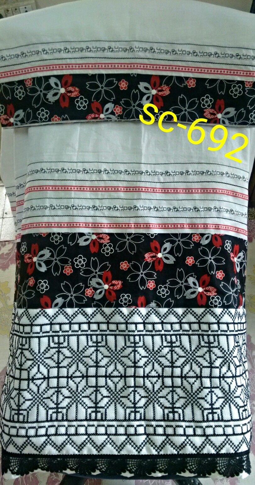 An all favorite combo of red white and black.....x stch panel n lacng... Email for further enquiries