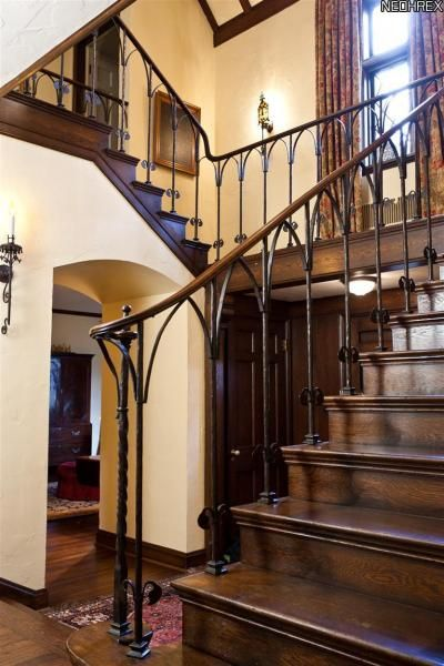 Best Wood Railing On Wrought Iron Staircase Wrought Iron 400 x 300
