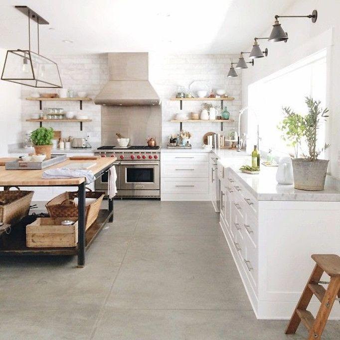 10 amazing inspirations for concrete flooring modern farmhouse kitchens kitchen island decor on farmhouse kitchen flooring id=37234