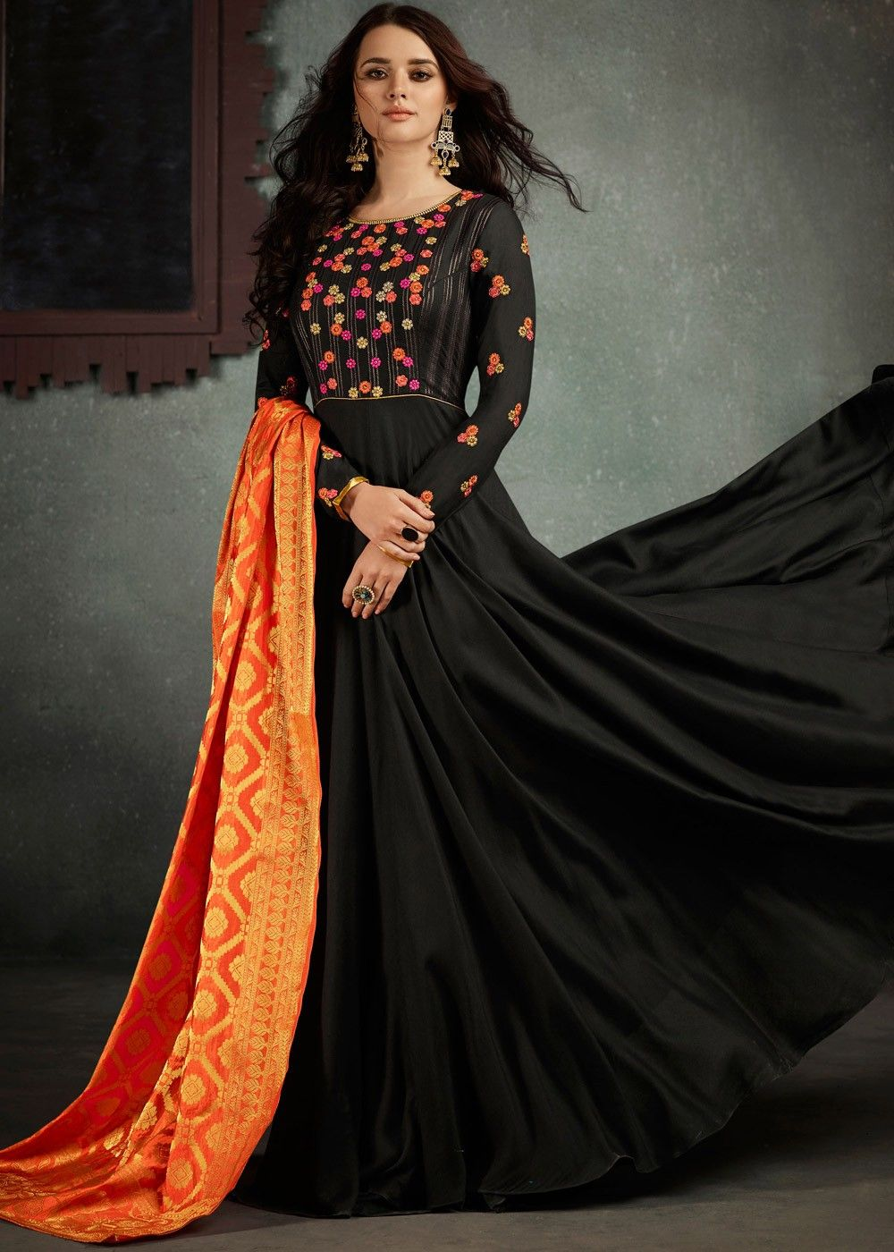 28c26b8fafc0 Readymade  Black Indian  Gown in Rayon with  Dupatta