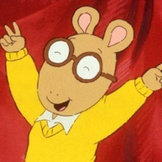 Arthur's glasses magically stayed on his head without ears or a nose for support.