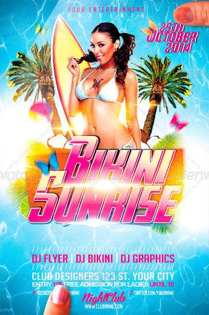 Bikini Sunrise Flyer PSD Flyer Template ffflyer – Pool Party Flyer Template