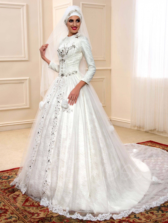 Wedding decorations muslim october 2018 Muslim Wedding Gowns Chapel Train  indoor wedding  Pinterest