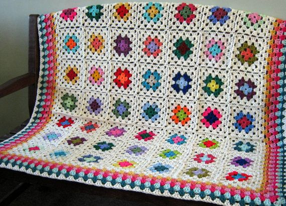 Crochet Blanket Afghan Cream White GRANNY SQUARES by Thesunroomuk, £95.00