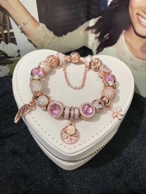 Pandora gold pink theme bracelet with 19 pcs charm in 2019  4833c9ebd75