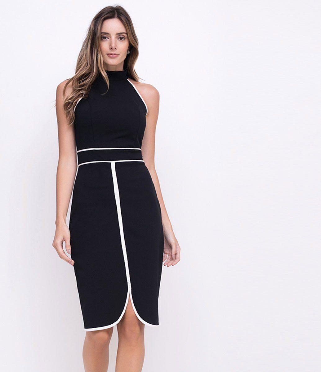d2345aebc0 Vestido feminino Sem mangas Gola alta Com detalhes contrastantes Marca   Cortelle Tecido  crepe Composição
