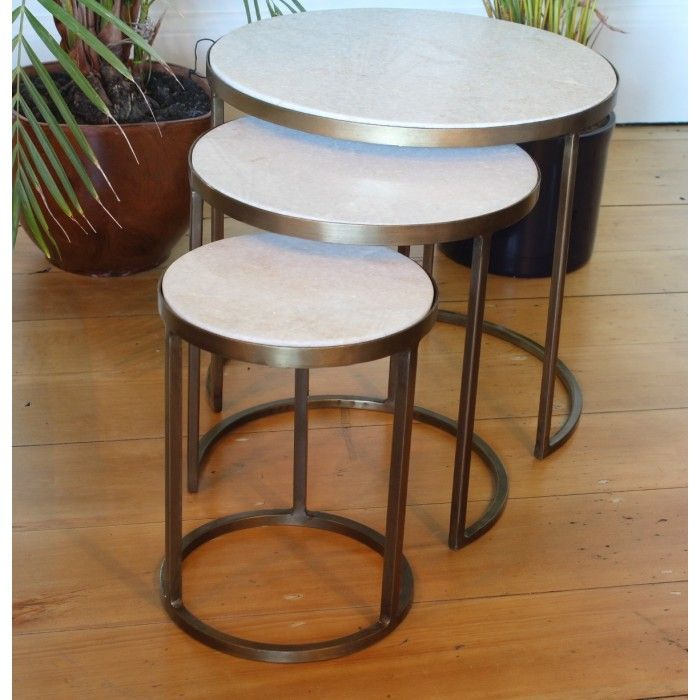 White Marble Nesting Coffee Tables by Madam Stoltz. Set of three ...