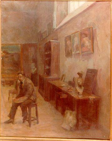 Teodósio Ferreira, «Interior de Atelier. Aula de Columbano» (1916) - MatrizNet