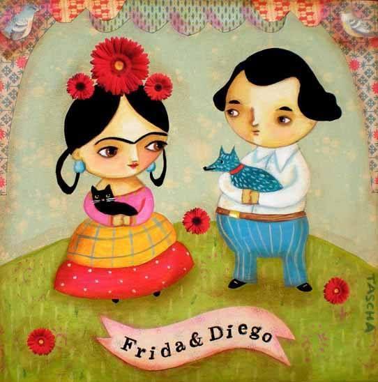 Frida Kahlo And Deigo Black Cat Blue Dog PRINT Of An Original Mixed Media Painting By Tascha
