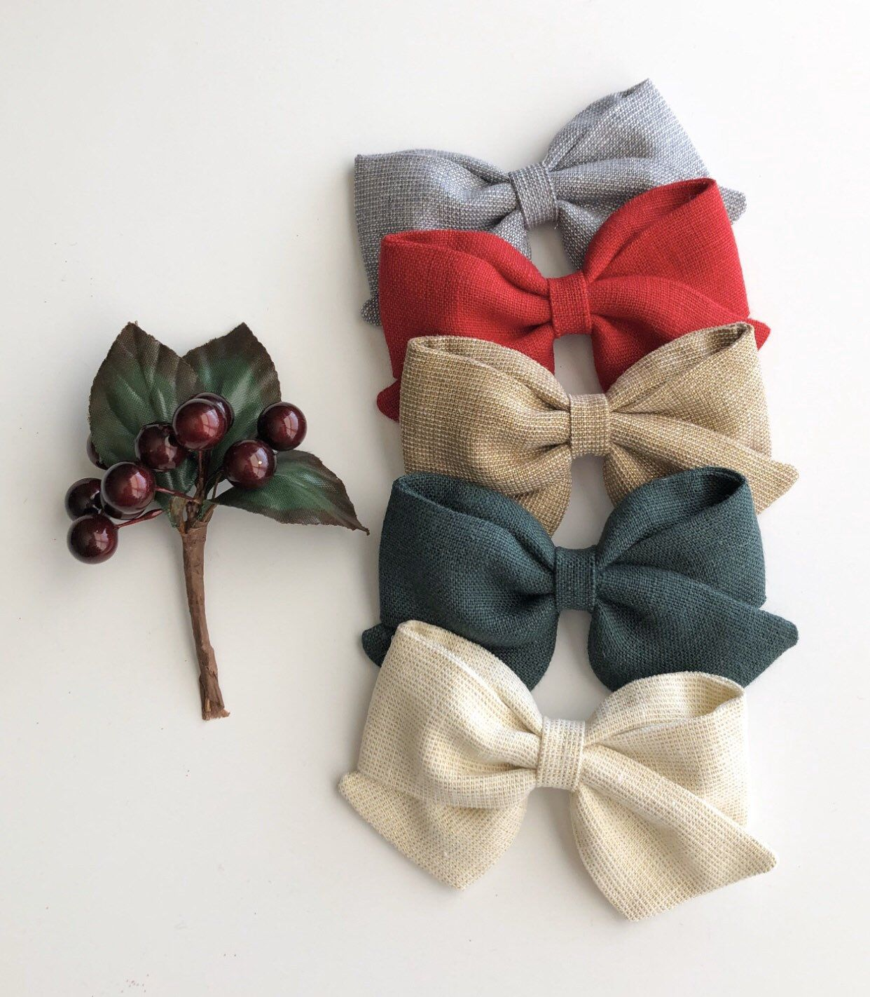 handmade linen hair accessories natural fabric hand tied bows fabric bows Bow set for girls striped linen bows kids clip