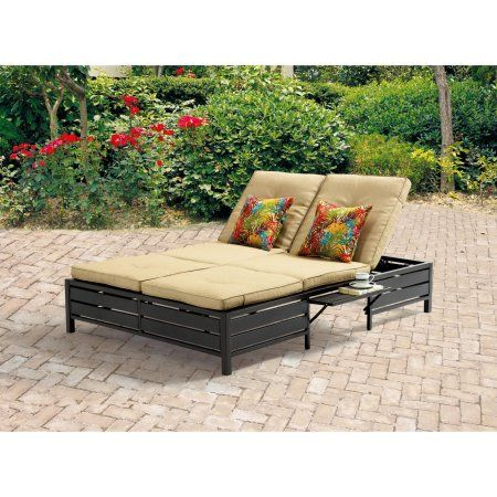 Mainstays Outdoor Double Chaise Lounger Tan Seats 2 Easyhomedecor With Images Double Chaise Lounge Chaise Lounger Double Chaise Lounge Outdoor