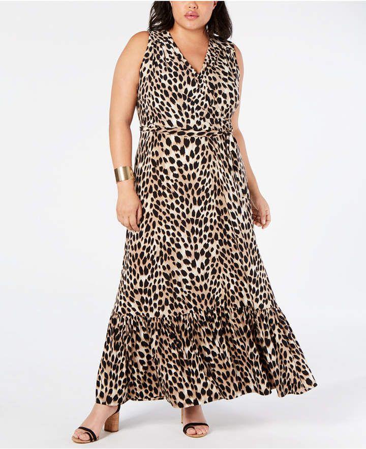 1750d2bfc970 INC International Concepts I.n.c. Plus Size Leopard-Print Faux-Wrap Maxi  Dress