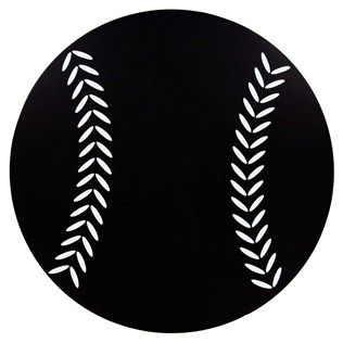 """Play ball! You won't strike out with this Black Baseball Chalkboard!    Featuring a simple solid black shape with white stitching design to resemble a baseball, this MDF chalkboard is perfect for locker rooms, offices, man caves, your little slugger's bedroom, and more. Track upcoming games, leave messages and encouragement, and more! Chalkboards aren't just for classrooms.        Dimensions:      Diameter: 12""""          Hanging Hardware: 1 - Sawtooth Hanger"""