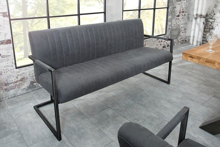 Sitzbank BIG ASTON vintage grau 160cm mit gebürstetem Eisengestell