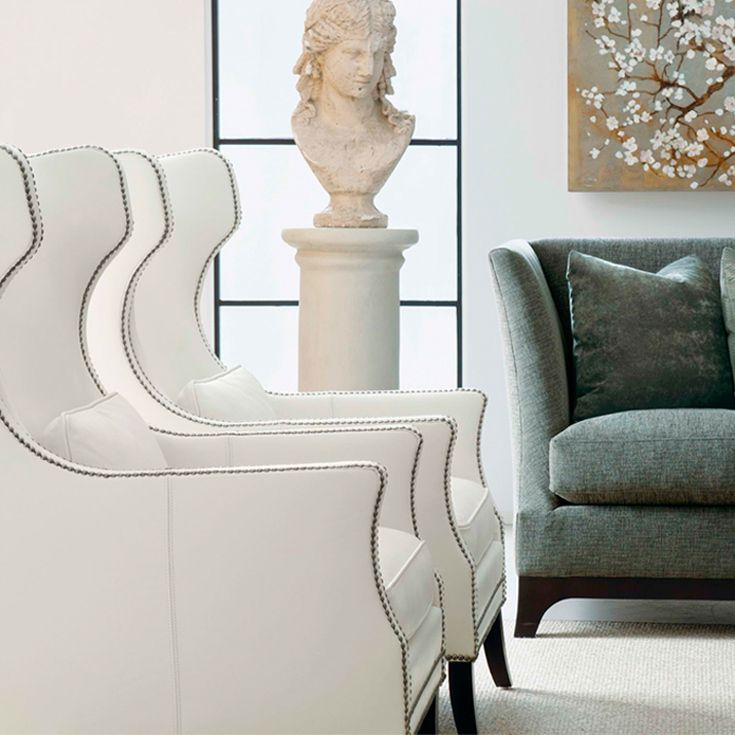 Bernhardt Kingston Wing Chair In Ivory White Leather