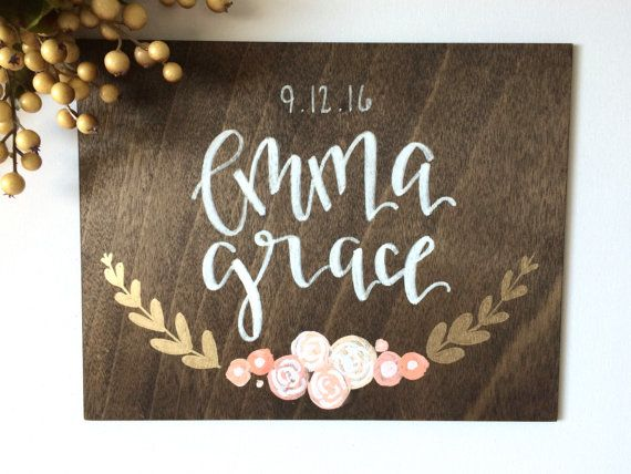 Custom Baby Name Wood Sign Floral Sign Wood Sign Wood