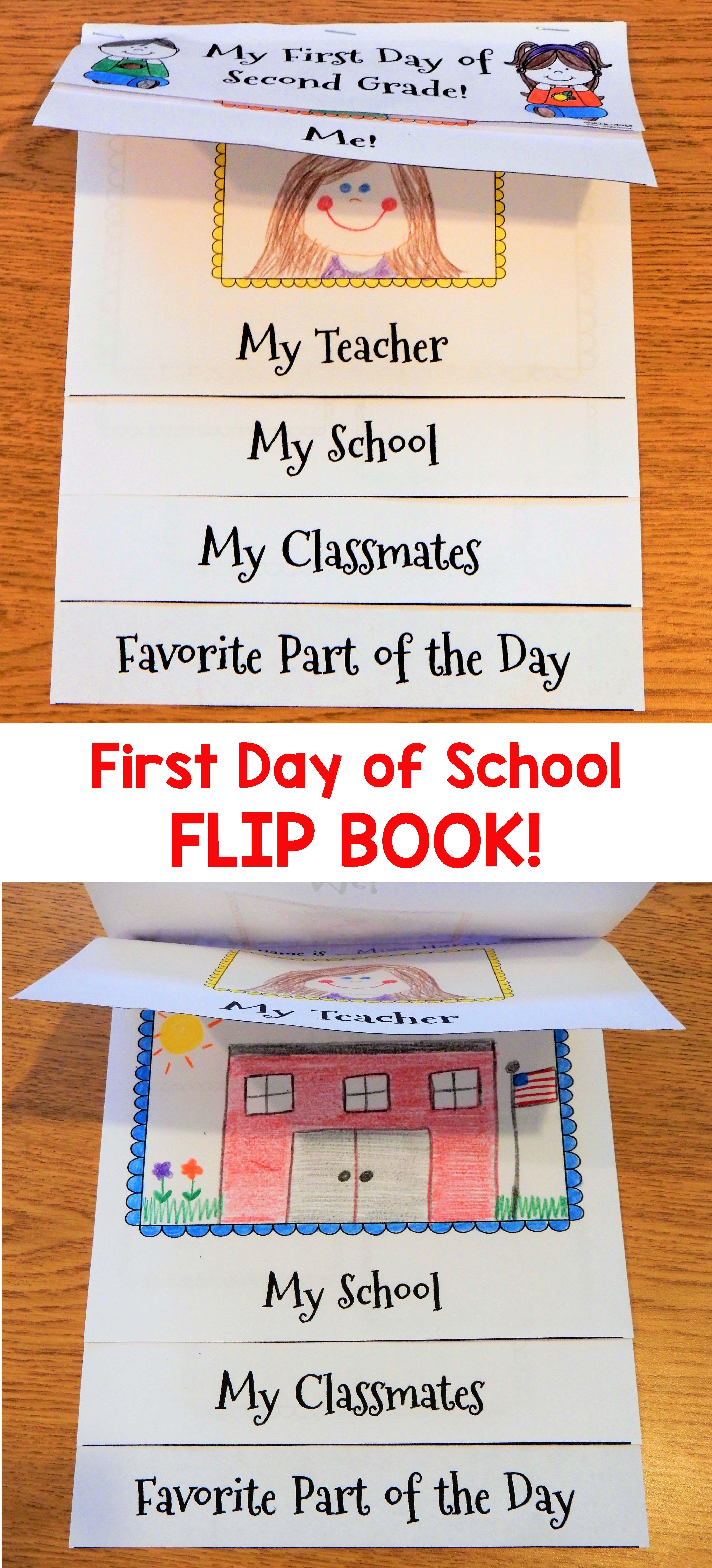 first day of school flip book flip books kindergarten and flipping
