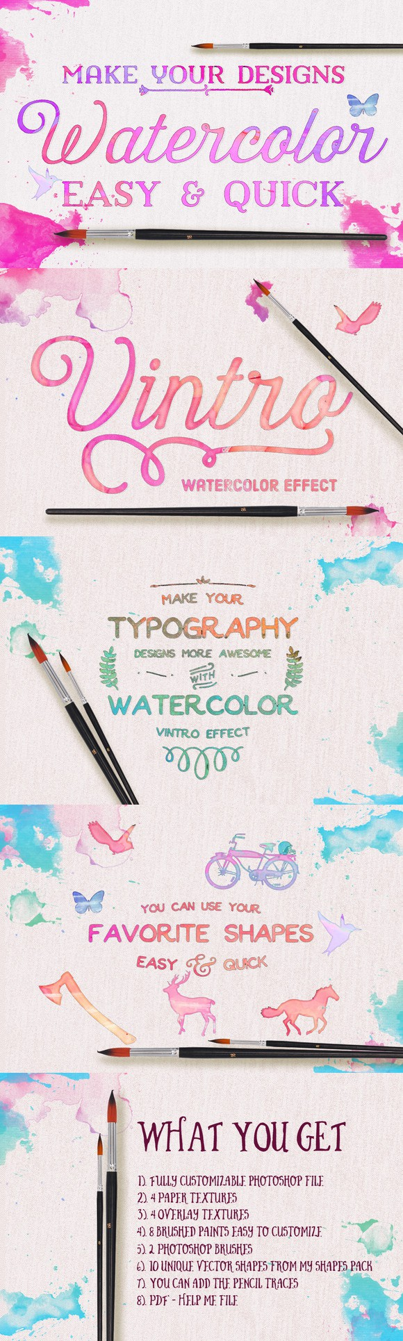Watercolor - Make it Quick & Easy. Photoshop Layer Styles. $15.00
