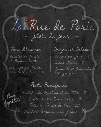 French Menu- chalkboard design. Could make something like this for the shower