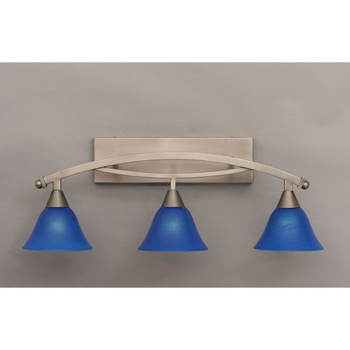 Photo of Toltec Lighting Bow Brushed Nickel Three Light Bathroom Bar W / 7 Inches Blue Italian Glass 173 Bn 4155   Bellacor