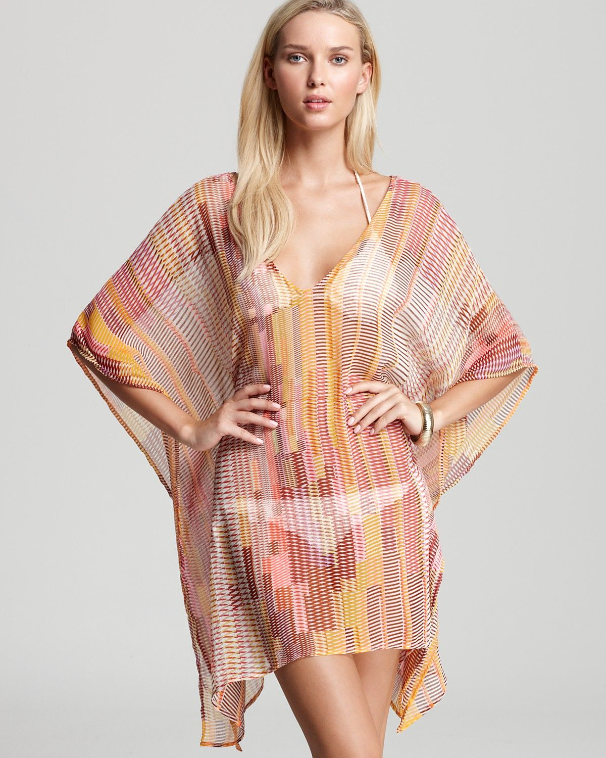 Echo Logo Stripe Short Caftan Swimsuit Cover Up