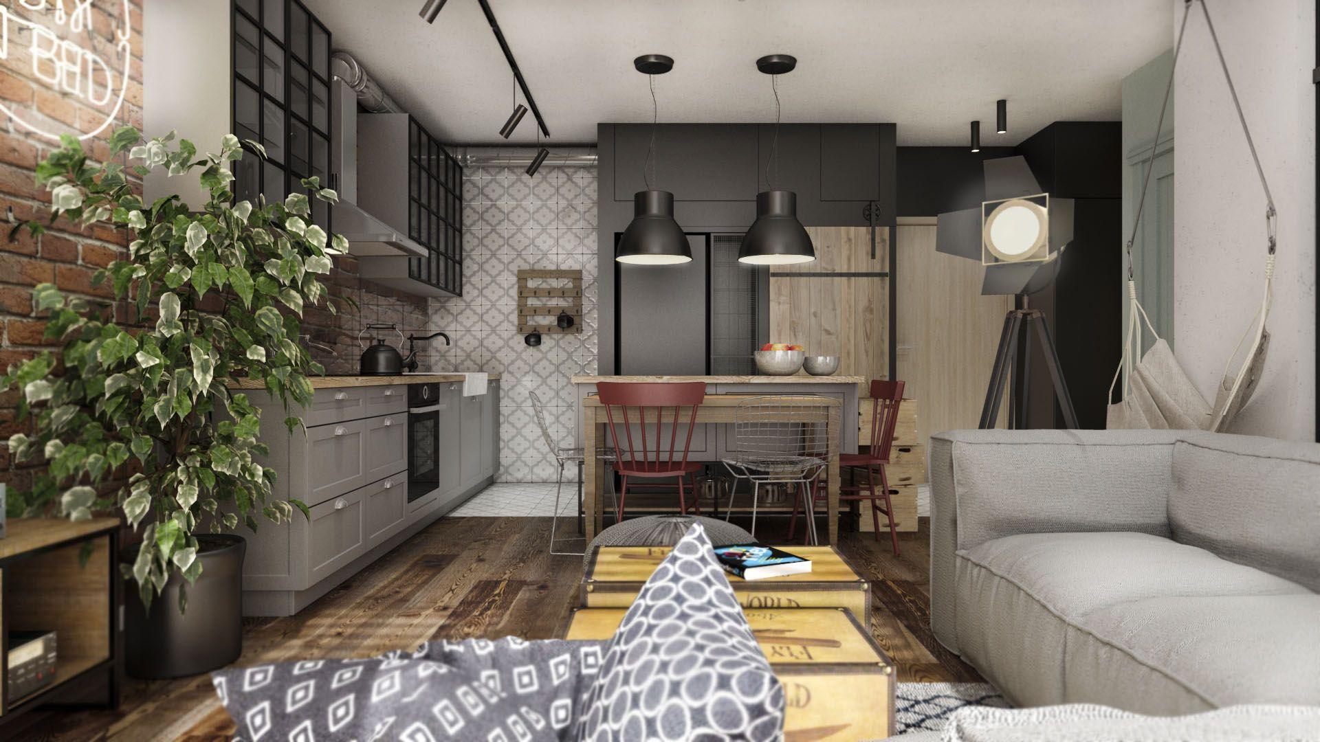 Salon Z Kuchnia W Stylu Industrialnym Modern Kitchen Design Home Furniture