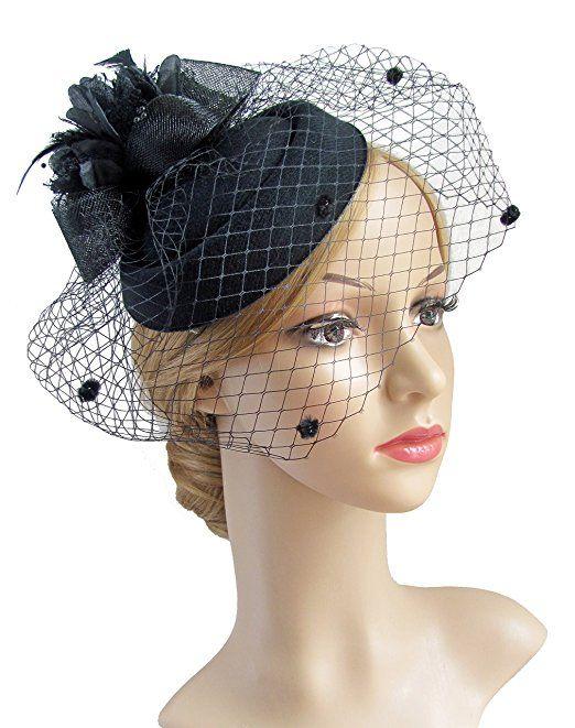 1950s Hats Pillbox Fascinator Black With Veil