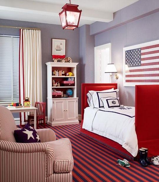 Awpatrioticboy Red Bedding White Blue Walls Rooms Monogram