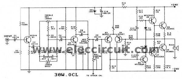 2N3055 amplifier circuit diagram, 30w OCL integrated PCB