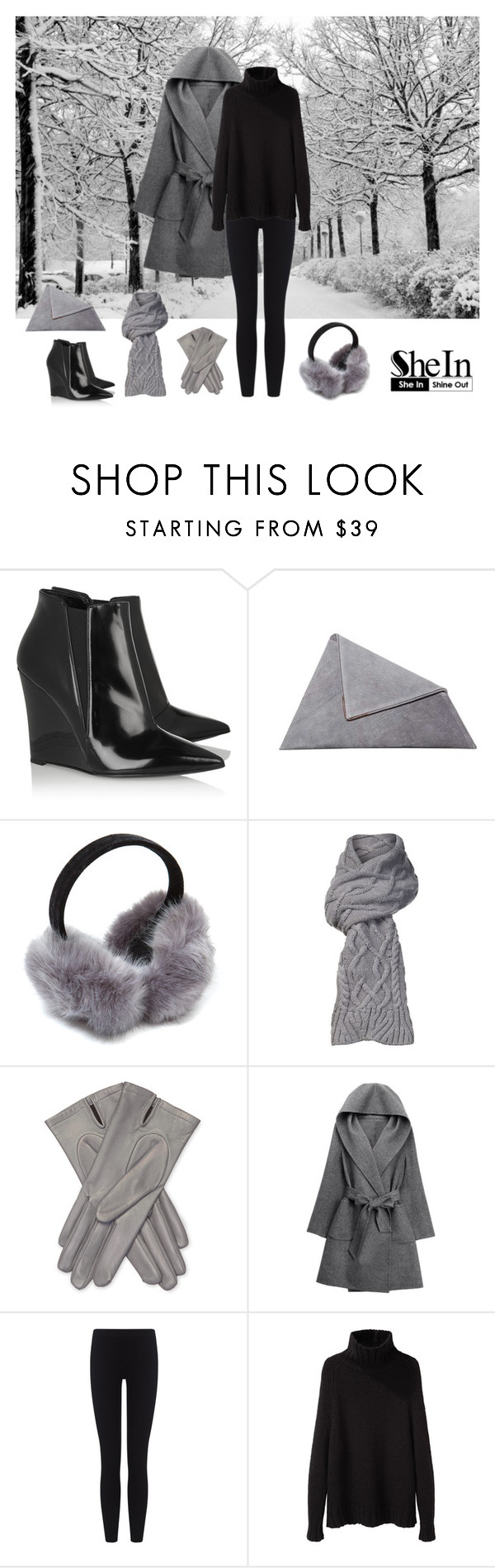 """""""Grey Hooded Tie-waist Casual Coat"""" by dezaval ❤ liked on Polyvore featuring Burberry, UGG, Maison Fabre, WithChic, James Perse and La Garçonne Moderne"""