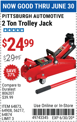 Pittsburgh Automotive 2 Ton Compact Trolley Jack For 24 99 Harbor Freight Tools Harbor Freight Coupon Lifted Cars