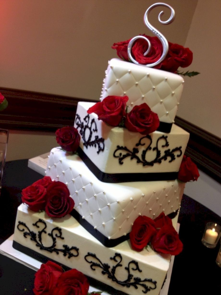 Red And Black Wedding Cake With Red Fondant Sash And Black ...   Affordable Wedding Cakes Black And Red