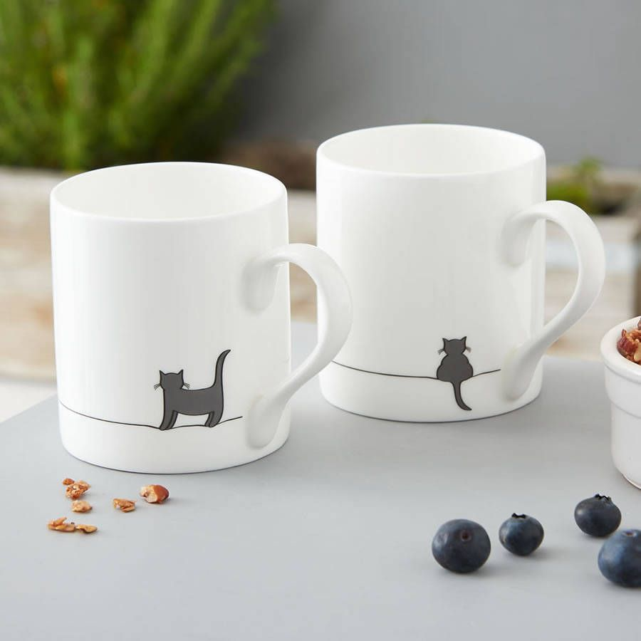 Cat Mugs, Set Of Two