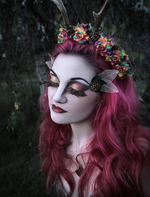 halloween #makeup #fairy #pinkhair #flower #flowercrown make up
