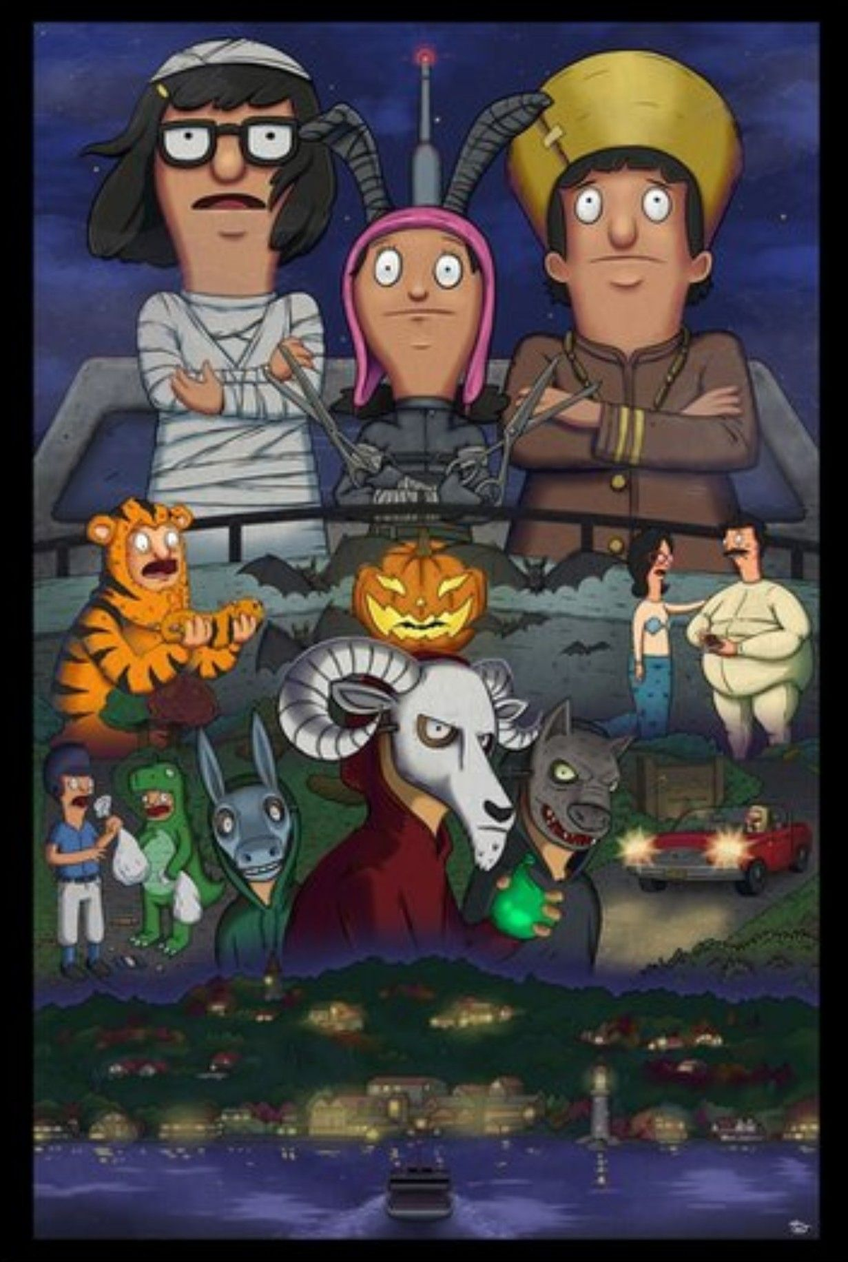 bobs burger halloween bob linda go to teddys halloween party gene tina louise go trick or treating on kings head island where the rich folks live