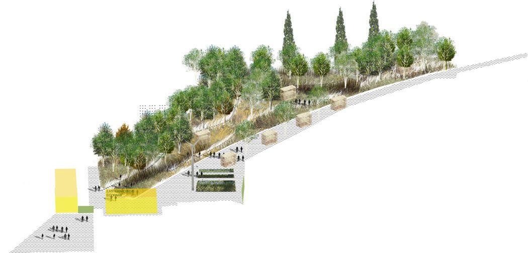 19 eastern curve axonometric of proposals j l gibbons for Garden design proposal