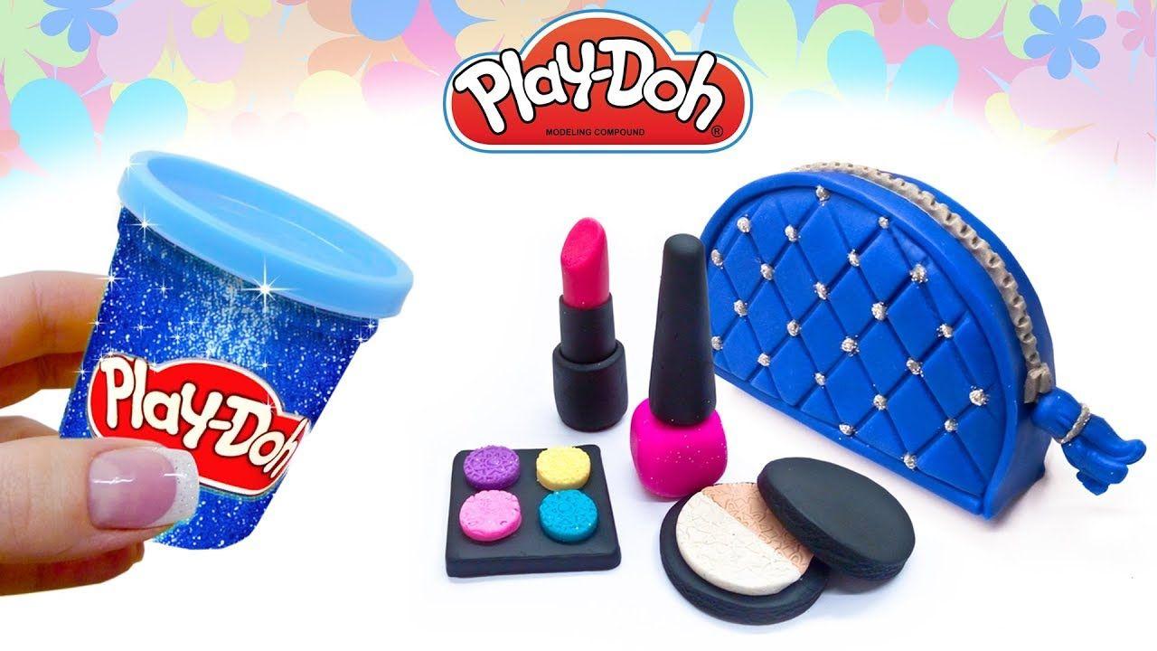 Play Doh Cosmetics Set. How to Make Makeup Bag Lipstick