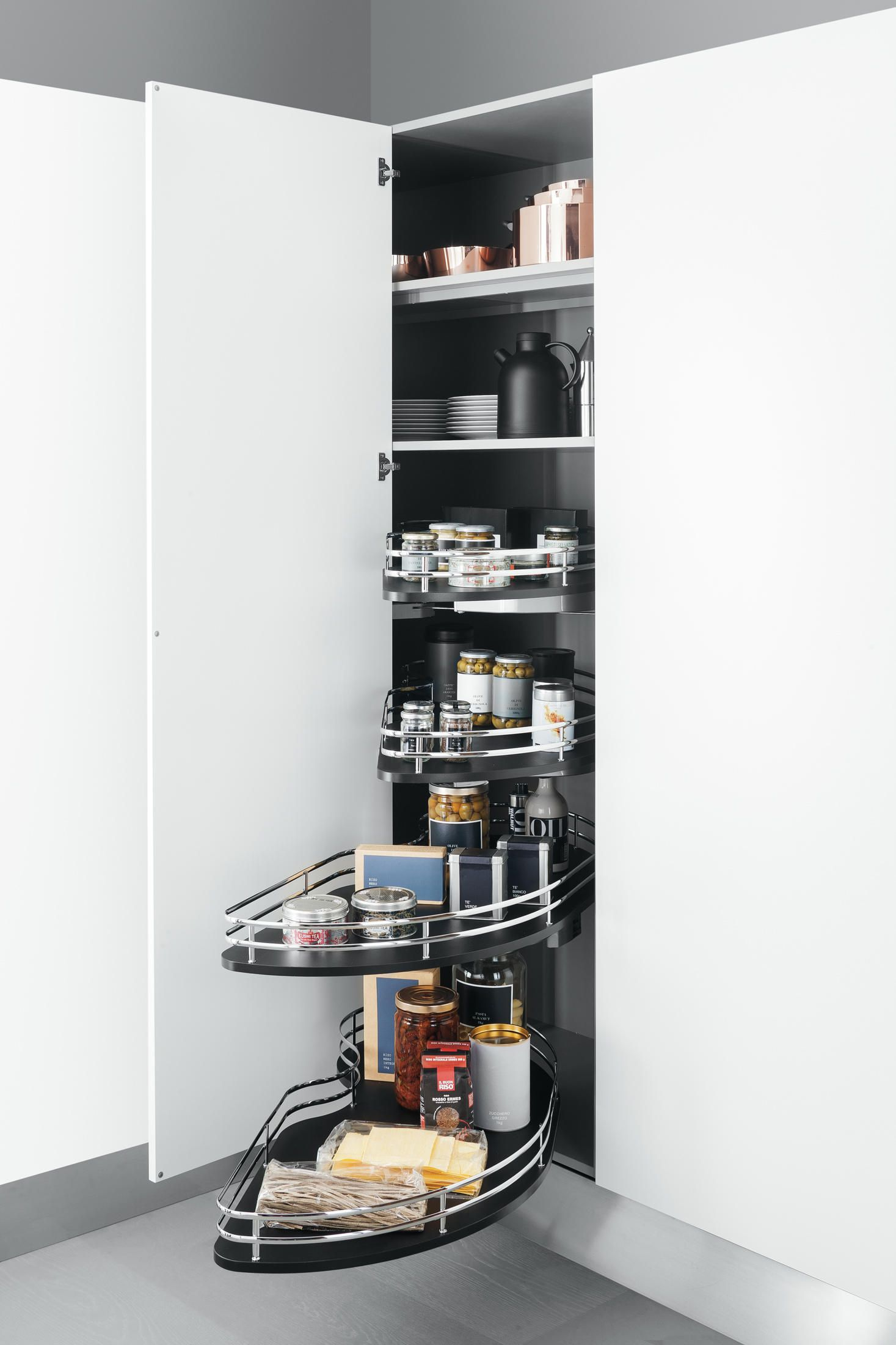 Tall Units Corner Base Unit With Shaped Baskets Designer Kitchen Organization From Arcline Tall Kitchen Cabinets Upper Kitchen Cabinets Ikea Kitchen Design