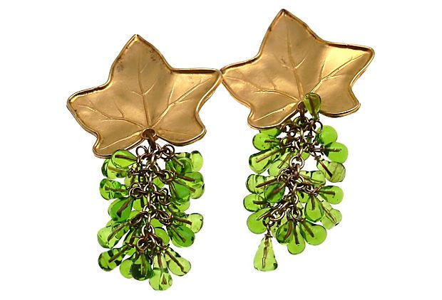 Deanna Hamro Ivy Leaf & Gripoix Earrings