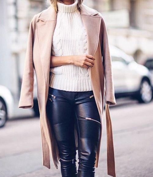 Sweater // Coat // Leather pant