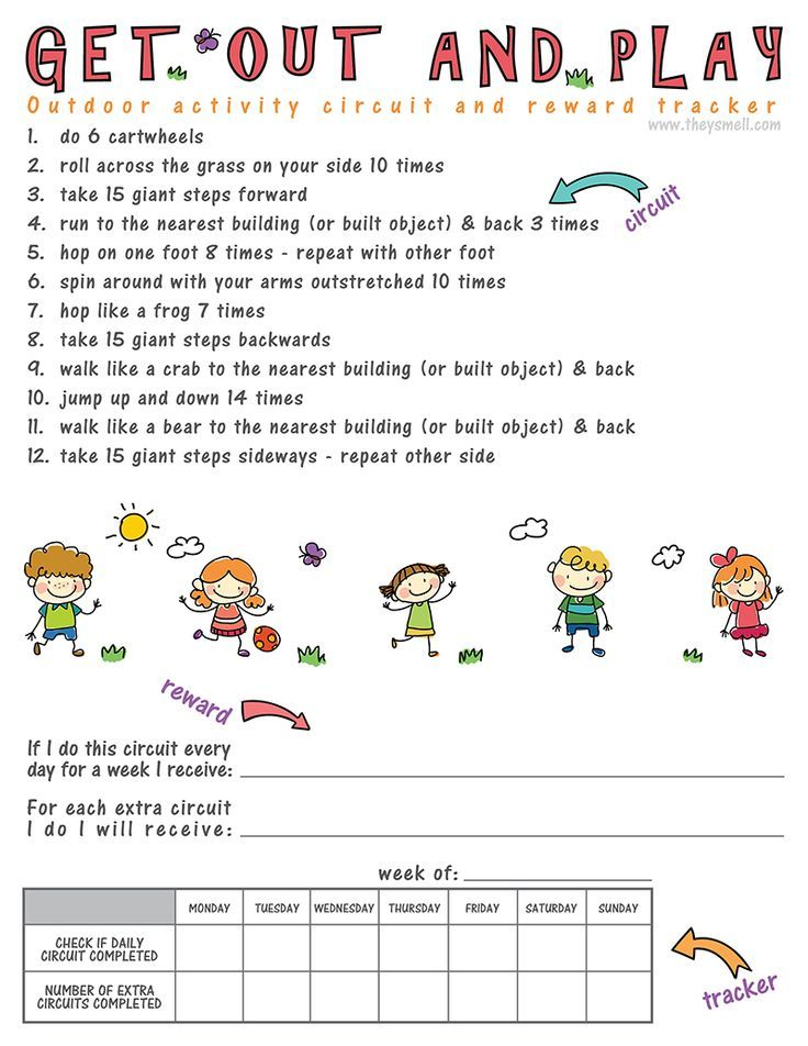 Get out and play activity circuit and reward tracker